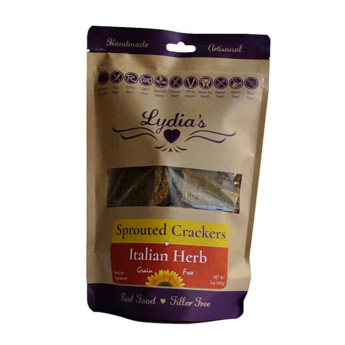 Lydia's Italian Herb Sprouted Crackers 5 oz, Pack of 6