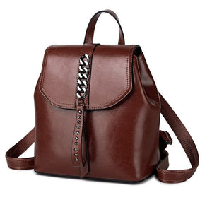 Fashion High Quality Genuine Leather Backpack For Girls Daypack Female Knapsack Vintage