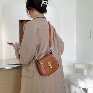 Fashion Saddle Shoulder Bag For Women New Pu Small Crossbody Messenger Bag Individuality Lock Design || Shop & Buy