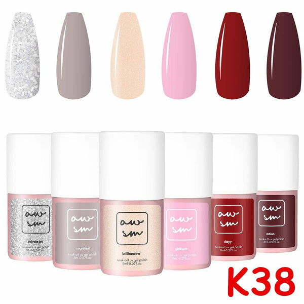 Makartt Gel Nail Polish Set - 6 Pink Green Purple Blue Colors 8ml Uv Nail Gel Polish Base Coat Top Coat Gel Kit || Shop & Buy