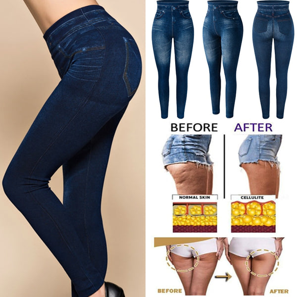 Slim Women Leggings Faux Denim Jeans Leggings Sexy Pocket Printing Fashion Fitness Leggings Casual High Waist Pencil Pants || Shop & Buy