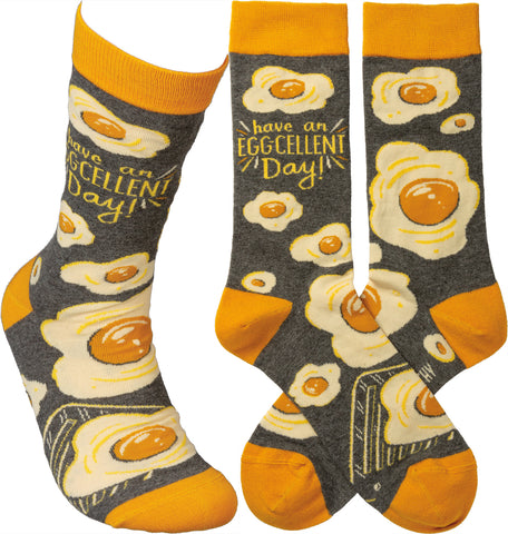 Have an Egg-Cellent Day Adult Crew Socks
