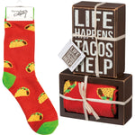 Tacos Help Box Sign and Sock Set