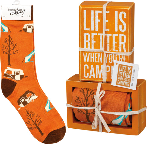 Camping Box Sign and Sock Set