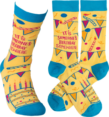 It's Someone's Birthday Somewhere Adult Crew Socks