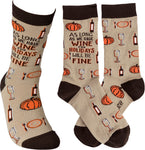 As Long As We Have Wine Adult Crew Socks
