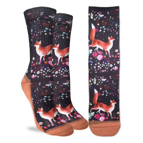 Floral Fox Adult Crew Socks