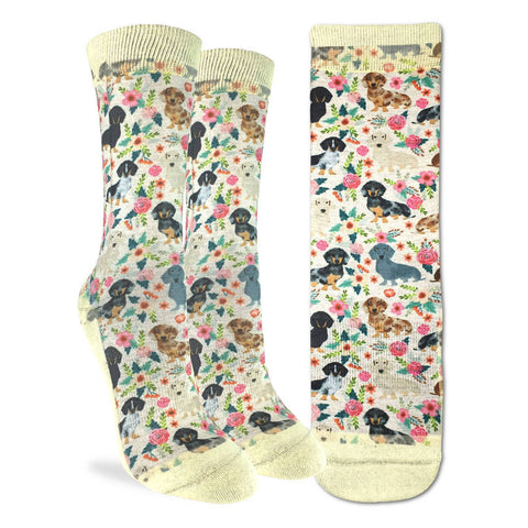 Floral Dachshunds Adult Crew Socks
