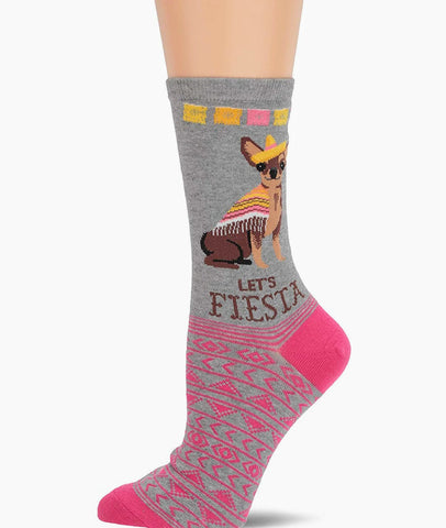 Let's Fiesta Chihuahua Adult Crew Socks