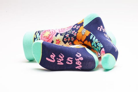 La Vie en Rose Floral Adult Crew Socks