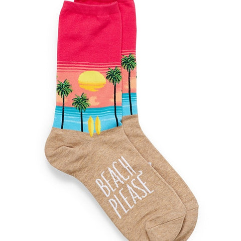 Beach Please Adult Crew Socks