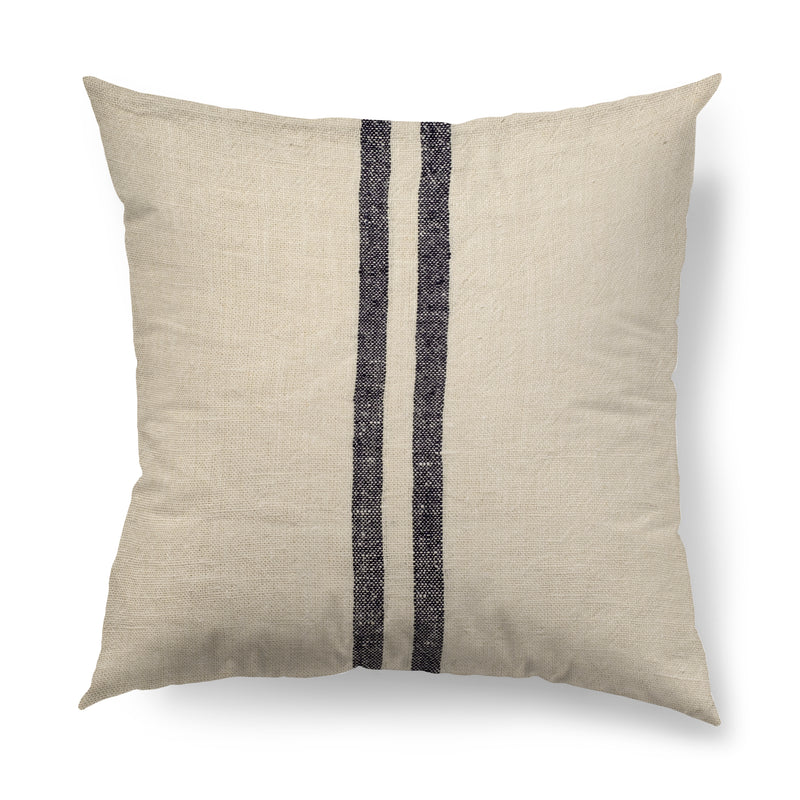 Gray striped 22x22 Linen Pillow Cover