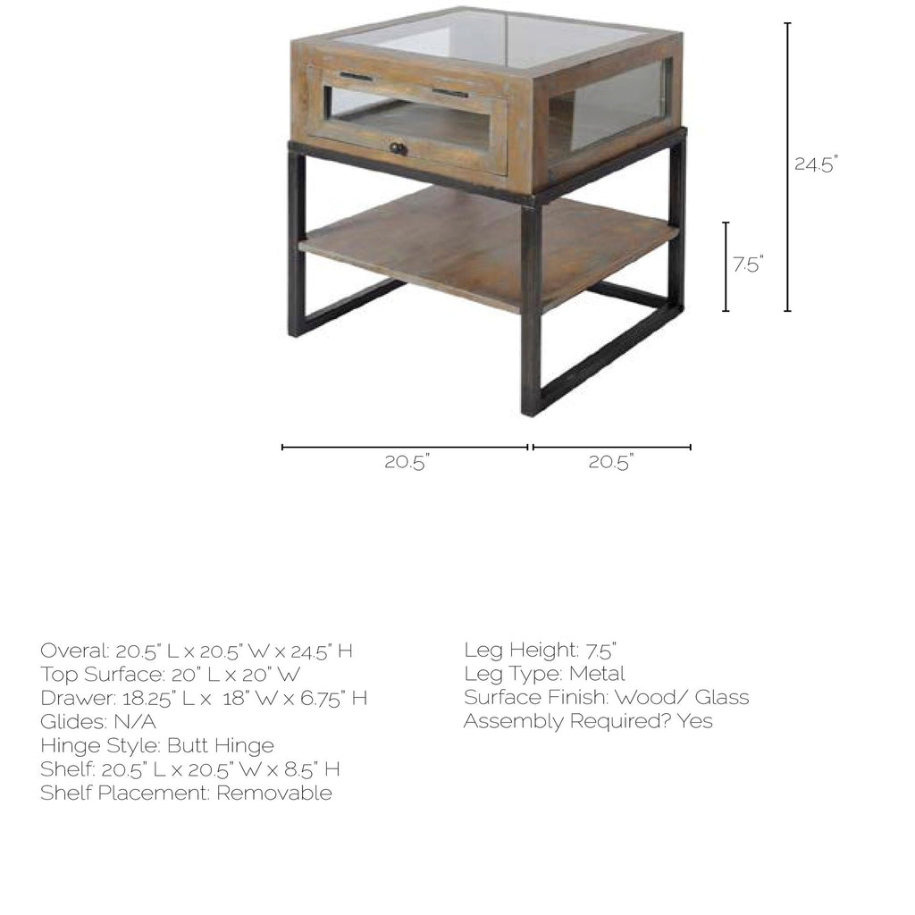 Coulter III Wood and Iron Glass top end/side table