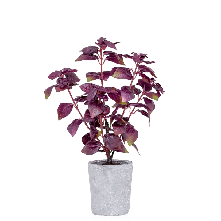 "Potted 16"" H Faux Purple Basil Herb Plant"