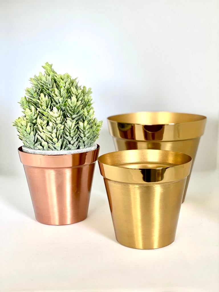 "Mina Brushed Copper 4"" Metal Drop Pot"