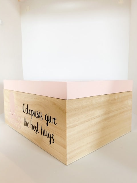 Kids Large Wood Storage Box - Pink