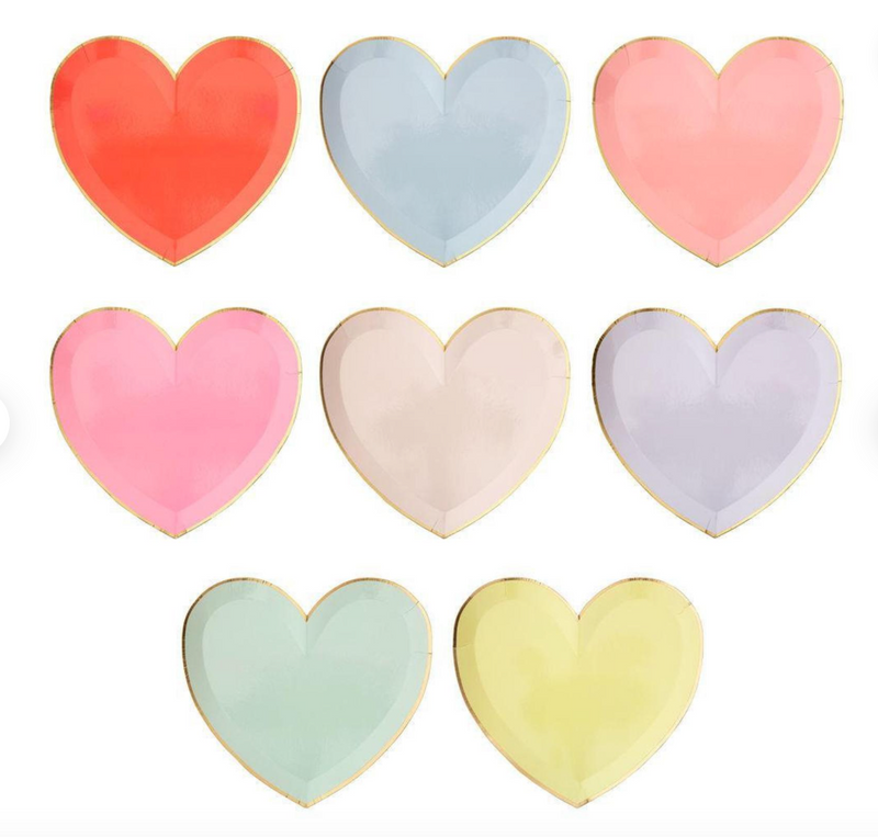 Pastel Heart Plates (Pack 8)