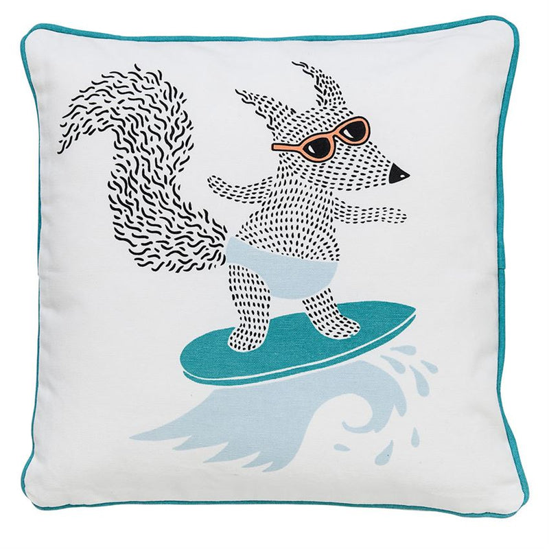 Square Surfing Fox Pillow, Blue