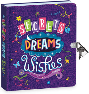 "Secrets, Dreams and Wishes Glow in The Dark 6.25"" Lock and Key, Lined Page Diary for Kids"