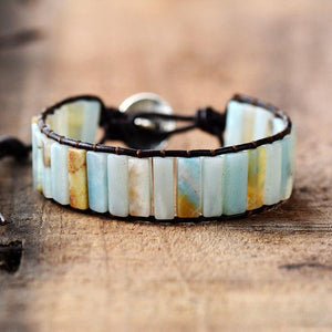The Natural Amazonite Beaded Handcrafted Cuff Bracelet - Soul Sound Baths