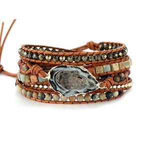 The Natural Assorted Gemstone Handmade Woven Drusy Wrap Bracelet - Soul Sound Baths
