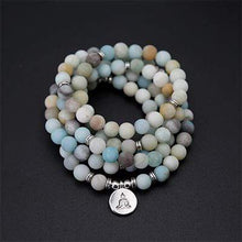 Load image into Gallery viewer, The Natural Handmade Frosted Amazonite Bead Mala Necklace With Pendant - Soul Sound Spirited