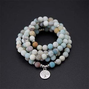 The Natural Handmade Frosted Amazonite Bead Mala Necklace With Pendant - Soul Sound Spirited