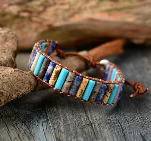 The Aqua Agate & Jasper Premium Wrap Bracelet - Soul Sound Baths