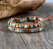 Load image into Gallery viewer, The Natural Jasper Gemstone Two Layer Leather Wrap Bracelet - Soul Sound Spirited