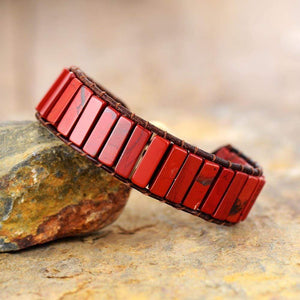 The Red Jasper Leather Wrap Bracelet - Soul Sound Baths