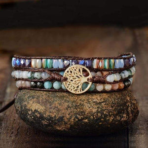 The Handmade Natural Mixed Gemstones Tree of Life Pendant Wrap Bracelet - Soul Sound Baths