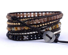 Load image into Gallery viewer, Handmade Mixed Natural Gemstones Brown Natural Fibers Wrap Bracelet - Soul Sound Spirited