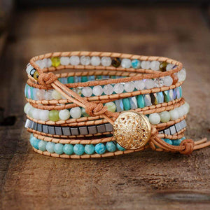 Handmade Natural Amazonite and Mixed Gemstones Wrap Bracelet - Soul Sound Baths
