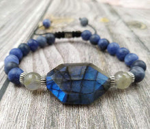 Load image into Gallery viewer, Handmade Natural Blue Labradorite and Sodalite Gemstones Bracelet - Soul Sound Baths