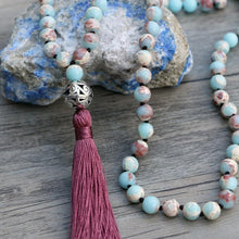 Load image into Gallery viewer, Handmade Natural Blue Shoushan Matte Gemstone Bead Mala Prayer Necklace - Soul Sound Baths