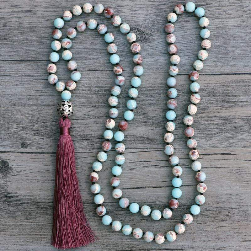 Handmade Natural Blue Shoushan Matte Gemstone Bead Mala Prayer Necklace - Soul Sound Baths