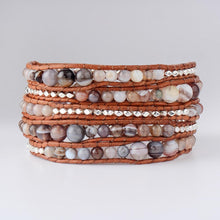 Load image into Gallery viewer, Handmade Natural Botswana Agate Gemstone Wrap Bracelet - Soul Sound Baths
