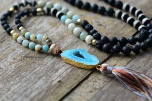Handmade Natural Lava Stone, Agate and Amazonite Gemstones, Druzy Crystal Pendant and Tassel Necklace - Soul Sound Baths
