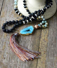 Load image into Gallery viewer, Handmade Natural Lava Stone, Agate and Amazonite Gemstones, Druzy Crystal Pendant and Tassel Necklace - Soul Sound Baths