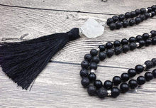 Load image into Gallery viewer, Handmade Natural Lava Stone Black Agate and Quartz Mala 108 Bead Necklace - Soul Sound Baths