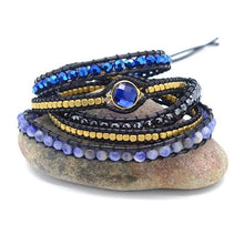 Load image into Gallery viewer, Handmade Natural Sodalite Gemstone Blue Wrap Bracelet - Soul Sound Baths