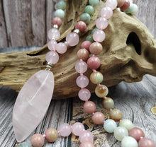Load image into Gallery viewer, Natural Amazonite, Rose Quartz and Rhodonite Gemstone 108 Mala Beads Necklace - Soul Sound Baths