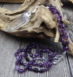 Natural Amethyst and Clear Quartz Gemstones Mala Bead Crystal Pendant Necklace - Soul Sound Baths