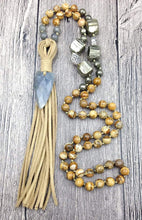 Load image into Gallery viewer, Natural Jasper Pyrite and Labradorite Gemstones Tassel Necklace - Soul Sound Spirited