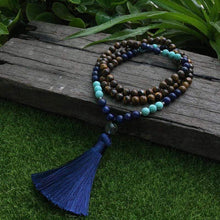 Load image into Gallery viewer, Natural Tiger Eye and Lapis Lazuli Gemstones 108 Mala Beads Necklace - Soul Sound Baths