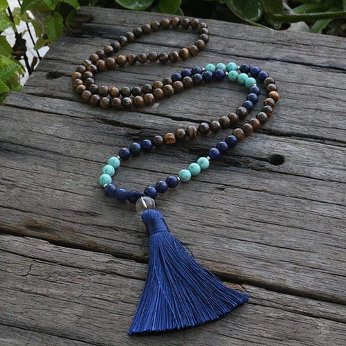 Natural Tiger Eye and Lapis Lazuli Gemstones 108 Mala Beads Necklace - Soul Sound Baths