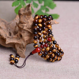 Natural Tiger Eye Stone 108 Beads Mala Prayer Piece - Soul Sound Spirited