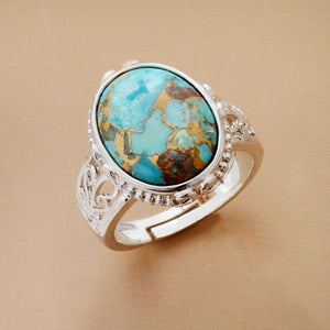 Natural Turquoise Gemstone Cocktail Ring - Soul Sound Baths