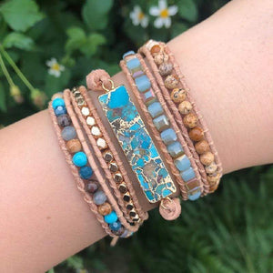 Natural Turquoise Gemstones and Jasper Beads Handmade Wrap Bracelet - Soul Sound Baths