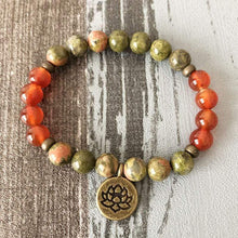 Load image into Gallery viewer, Natural Unakite and Carnelian Gemstones 108 Mala Beads Bracelet - Soul Sound Spirited